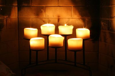 Candles in fireplace